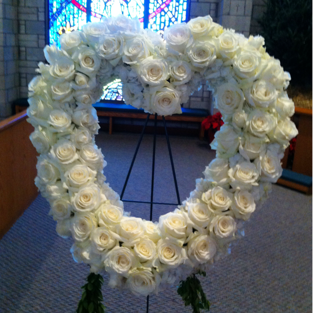 White Rose Heart Funeral Arrangement Velene's Floral