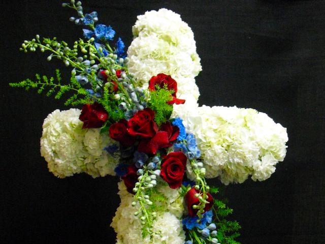 White Rose Cross Arrangement Velene's Floral