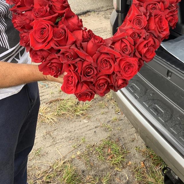 Lush Red Rose Open Heart Velene's Floral