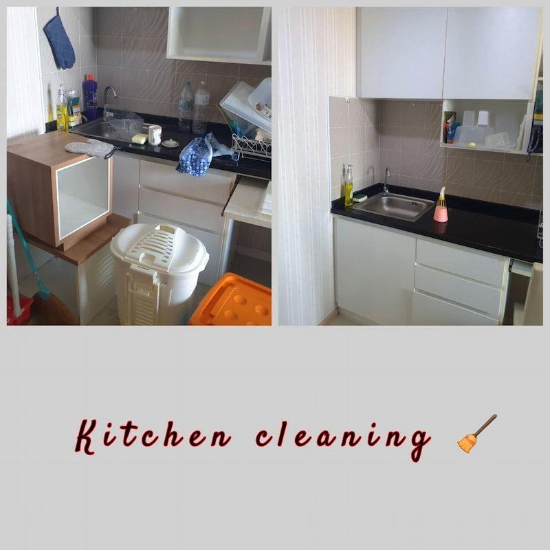 Deep cleaning a messy kitchen in a condo at Bangsue, Bangkok