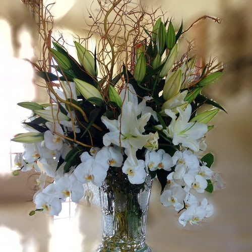 White Elegant Lilies and Orchid Centerpiece