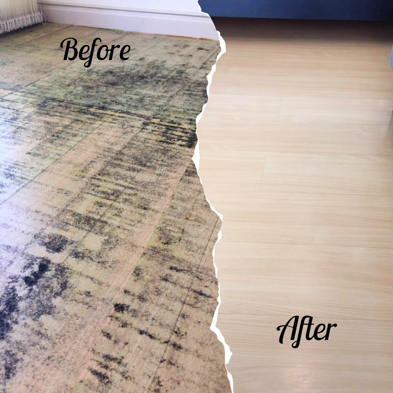 Cleaning and polishing the floor after removing the carpet in a laminated floor at Wattana, Bangkok