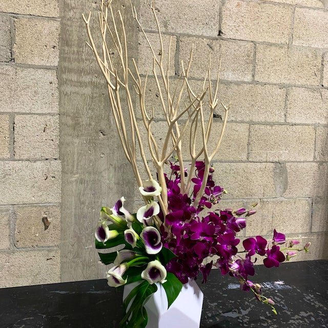 Intricate Floral Arrangement with Purple-White Roses and Branches Velene's Floral