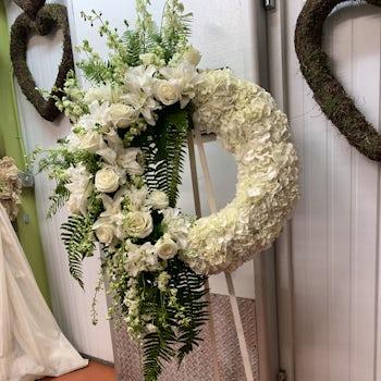 White Floral Funeral Wreath Velene's Floral