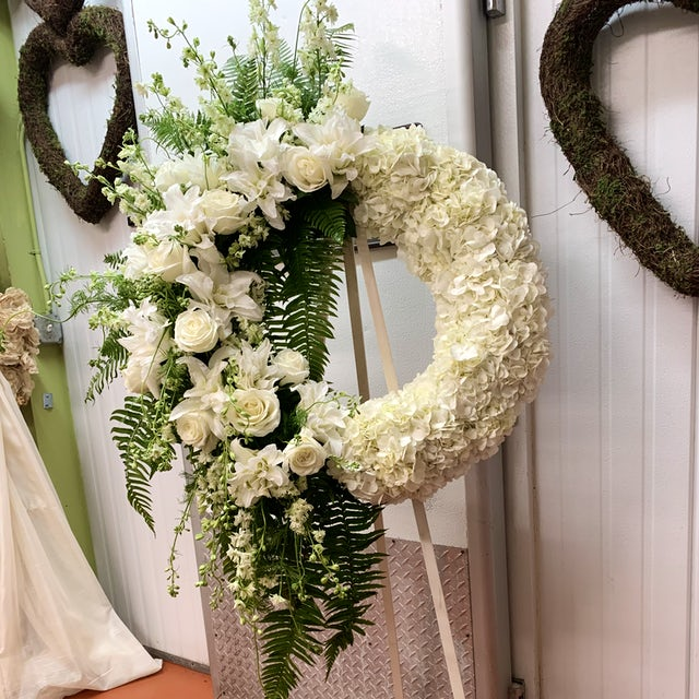 White Floral Funeral Wreath Velene's Floral