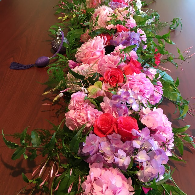 Pink and purple Hydrangeas with Roses Velene's Floral