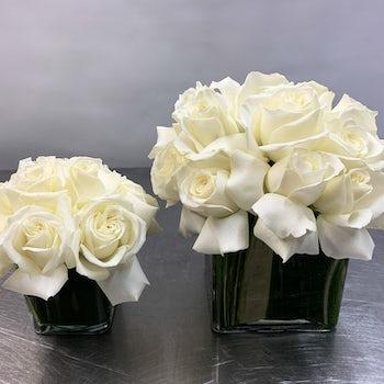 Small and Medium White Rose Arrangements Velene's Floral
