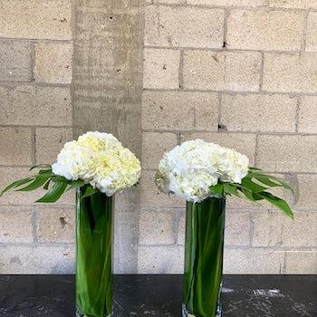 Tall Rectangular White Hydrangea Centerpieces Velene's Floral