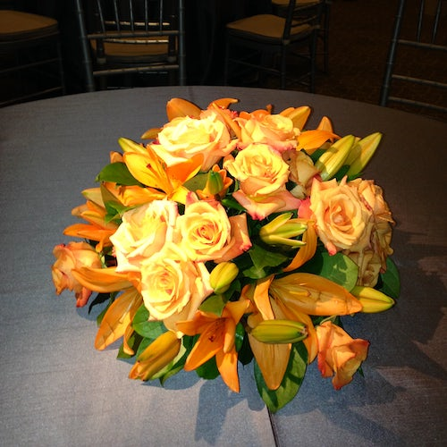 Orange Lilies and Roses for Dining Tables