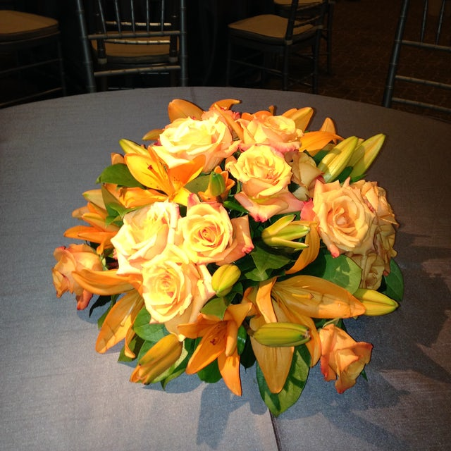 Orange Lilies and Roses for Dining Tables Velene's Floral