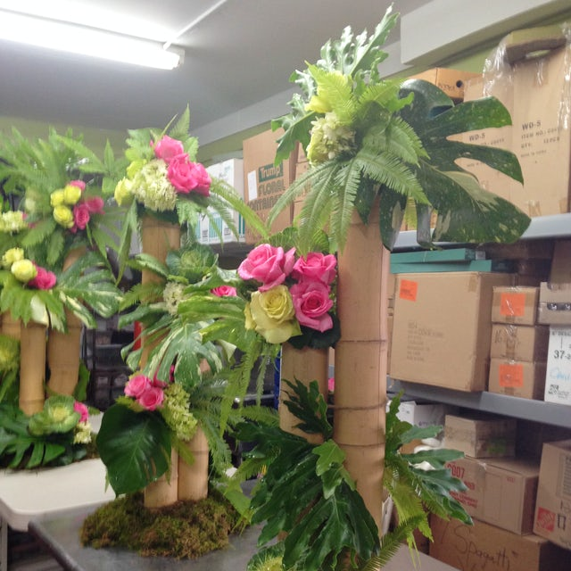Jungle Theme and Pink Florals Centerpiece Velene's Floral