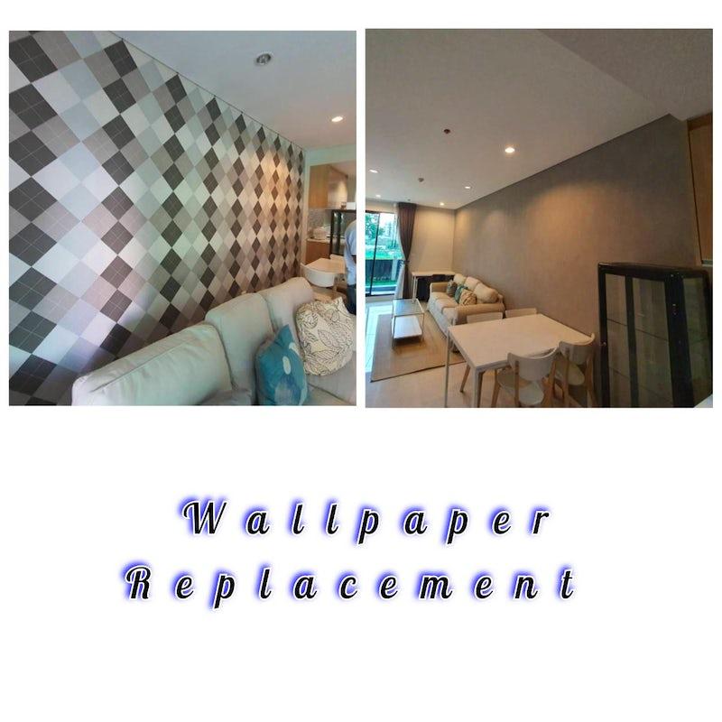 Wallpaper replacement in Asoke, Bangkok.