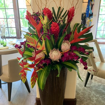 An explosion of tropicals, colors, and flare Velene's Floral