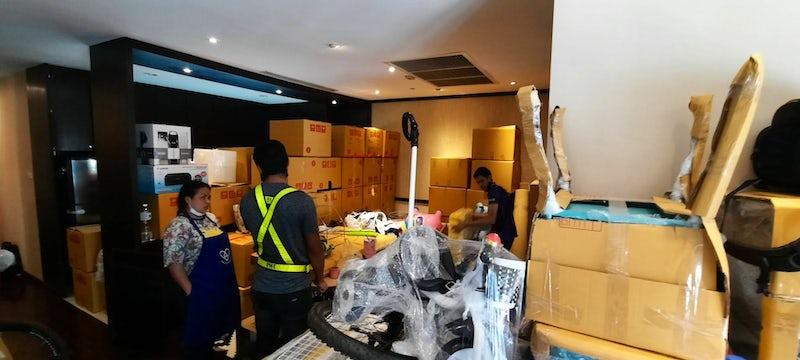 Big day for packing and moving at Sathorn, Bangkok