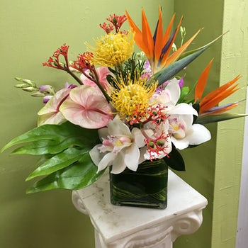 Large White Orchids, Yellow Spider Lilies, Birds of Paradise, and White Lilies Velene's Floral