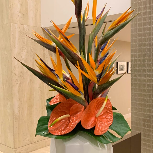 Tall Tropical Floral Arrangement for Lobby Velene's Floral