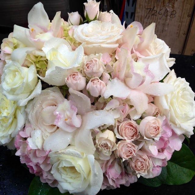 White and Light Pink Delicate Floral Arrangement Velene's Floral