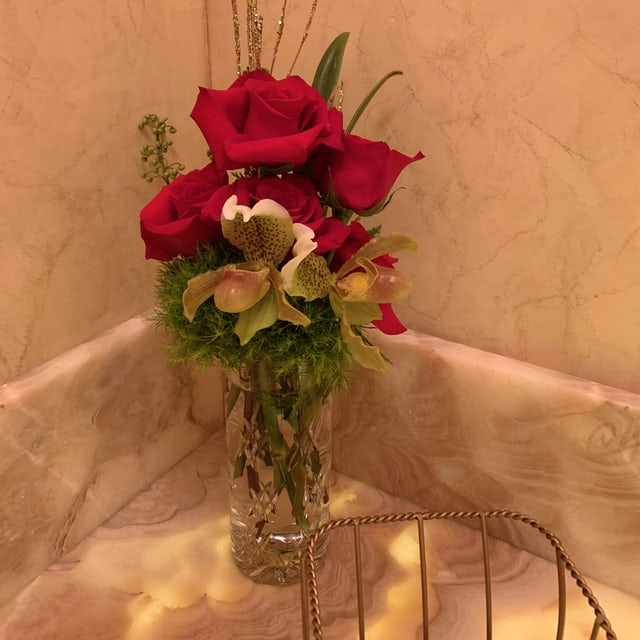 Simple Orchid and Rose Arrangement for Bathroom Velene's Floral