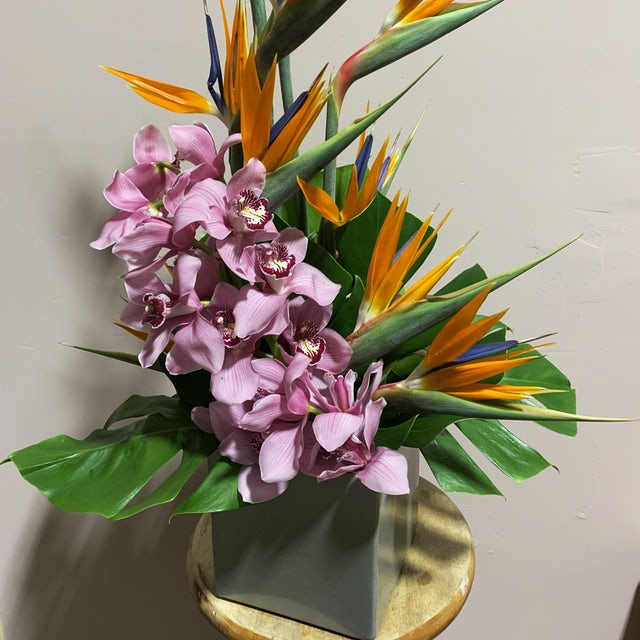 Fantastic Birds of Paradise with Purple Orchids Velene's Floral